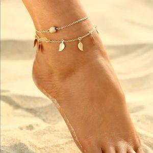 Golden Leaf Layered Anklet